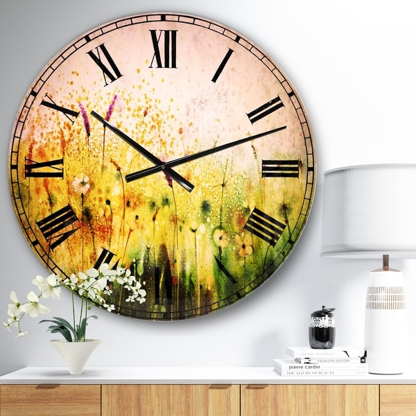Designart 'Cosmos Flowers and White Wildflowers' Floral Large Wall CLock