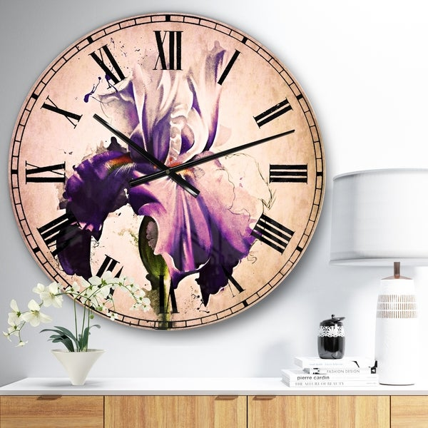 Designart 'Beautiful Blue Iris Watercolor Sketch' Floral Large Wall CLock