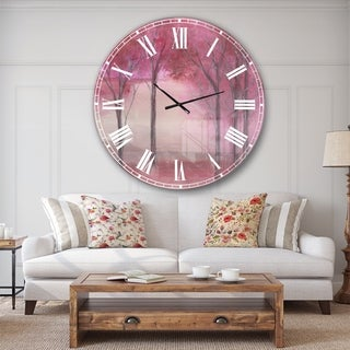 Designart 'Pink Forest' Traditional Landscape Large Wall CLock