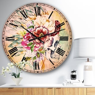 Designart 'Skull and Flowers' Floral Large Wall CLock