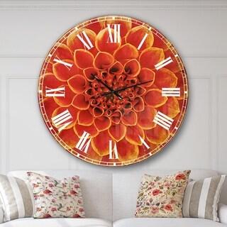 Designart 'Abstract Orange Flower Design' Floral Large Wall CLock