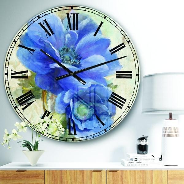 Designart 'Blue Anemone Flower' Floral Farmhouse Large Wall CLock