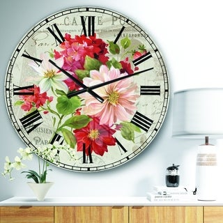 Designart 'Red Painted Flowers on Vintage Postcard II' Farmhouse Wall CLock