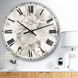The Gray Barn Jartop 'Indigold Grey Peonies II' Farmhouse Oversized Metal Clock