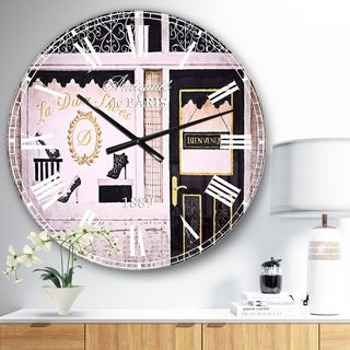 Designart 'Paris Diva Shoes Painting' Fashion Large Wall CLock