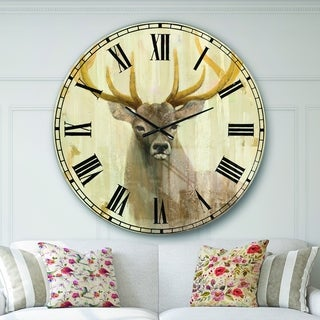 Designart 'Goldern Deer III' Modern Farmhouse Large Wall CLock