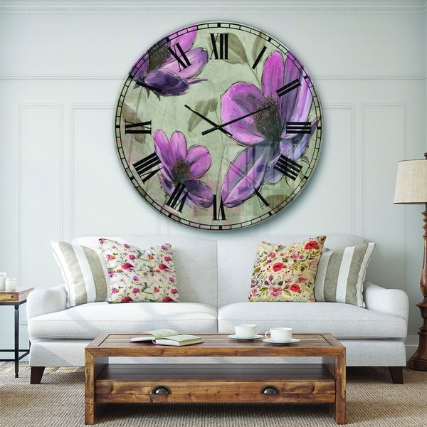 Designart 'Plum Pink Cottage Flowers' Traditional Wall CLock