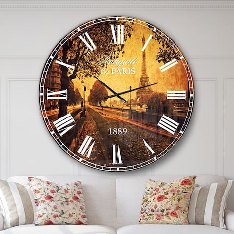 Designart 'Vintage Style View of Paris' Landscape Wall CLock