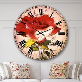 Designart 'Hand drawn Watercolor Rose Flower' Floral Large Wall CLock