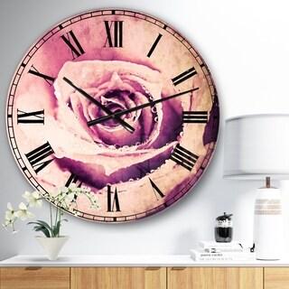 Designart 'Purple Wet Rose Background' Flowers Large Wall CLock