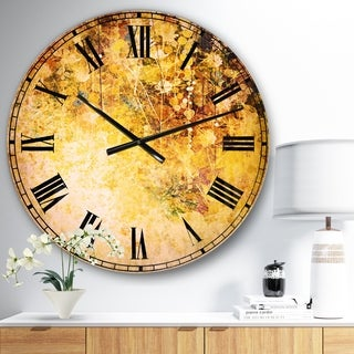 Designart 'White Flowers and Soft Color Leaves' Floral Large Wall CLock