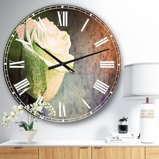 Designart 'Beautiful White Painted Rose' Floral Oversized Wall CLock