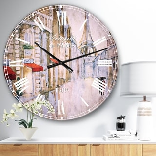 Designart 'Love in Paris III' Romantic French Country Large Wall CLock