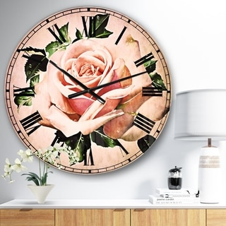 Designart 'Watercolor Rose with Green Leaves' Floral Wall CLock