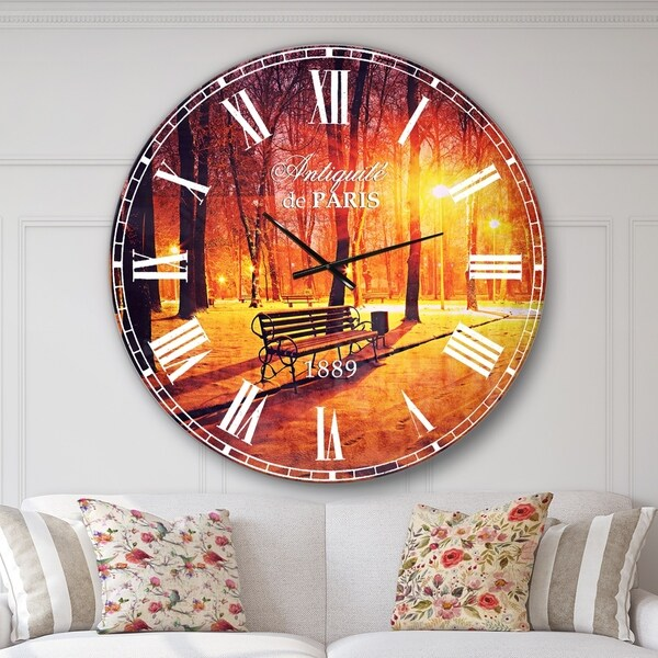 Designart 'Benches Covered in Winter Snow' Landscape Large Wall CLock