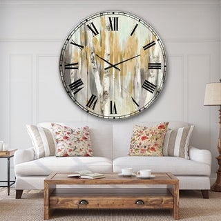 Designart 'Silver and Yellow Birch Forest' Cottage Large Wall CLock