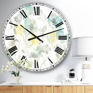 Designart 'Aqua Rose Natural Element' Farmhouse Oversized Metal Clock