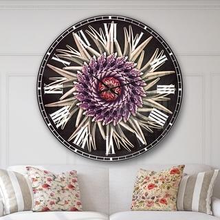 Designart 'Purple Abstract 3D Flower on Black' Flowers Large Wall CLock