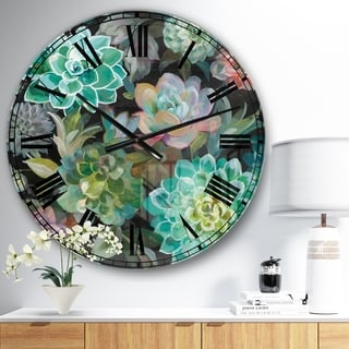 Designart 'Floral Succulents' Traditional Large Wall CLock