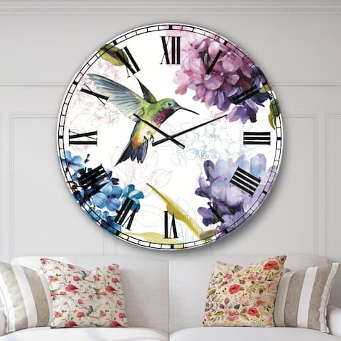 Designart 'Spring Nectar Square II' Traditional Large Wall CLock