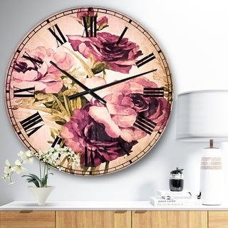 Designart 'Bunch of Purple Flowers' Floral Large Wall CLock