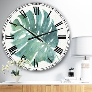 Designart 'Mixed Botanical Green Leaves IV' Cottage Large Wall CLock