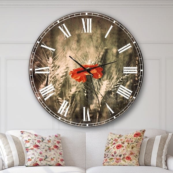 Designart 'Sigle Red Poppies' Farmhouse Floral Wall CLock