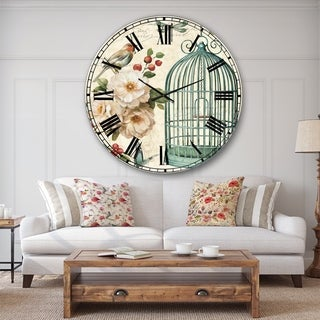 Designart 'Blue Cottage Bird, Birdcage and Apple Blossoms II' Floral and botanical Wall CLock
