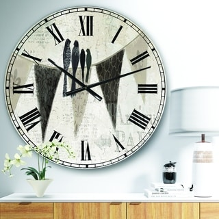 Designart 'French Bird Flea Market' Farmhouse Large Wall CLock