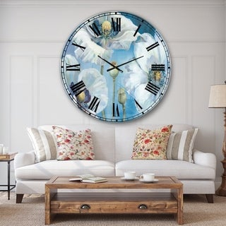 Designart 'White Flower on Blue II' Farmhouse Large Wall CLock