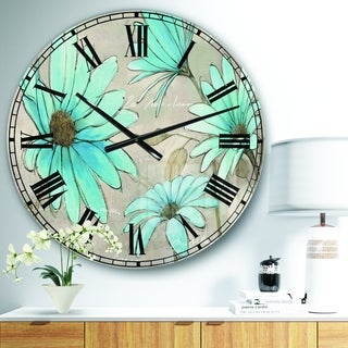 Designart 'Indigo Leucanthemum Cottage Flower' Traditional Large Wall CLock