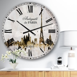 Designart 'Paris with Eiffel Silhouette' Cityscape Large Wall CLock