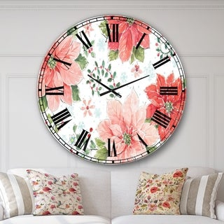 Designart 'Country Flower snowflakes I' Farmhouse Large Wall CLock