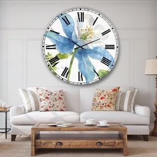 Designart 'Blue Columbine Wild Flower with Ferns' Cabin & Lodge Large Wall CLock