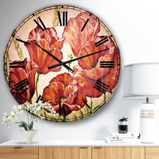 Designart 'Poppies in Wheat' Floral Large Wall CLock