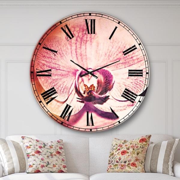 Designart 'Beautiful Pink Orchid Flowers' Flower Large Wall CLock