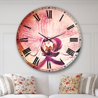 Designart 'Beautiful Pink Orchid Flowers' Flower Large Wall CLock