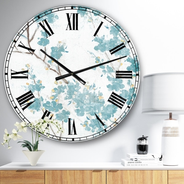 Designart 'Teal Cherry Blossoms II' Traditional Floral Large Wall CLock