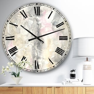 Designart 'Watercolor Snowflakes II' Modern Farmhouse Large Wall CLock