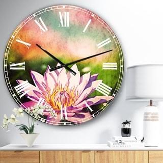 Designart 'Purple Lotus on Abstract Background' Flower Large Wall CLock