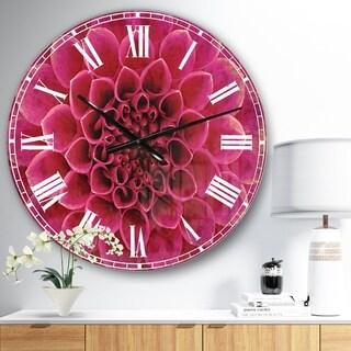 Designart 'Dark Pink Abstract Flower Petals' Floral Large Wall CLock