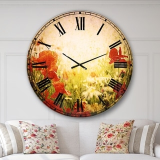 Designart 'Grunge Background with Red Poppies' Floral Large Wall CLock