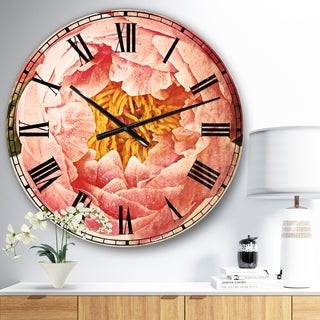 Designart 'Bunch of Light Pink Peony Flowers' Floral Large Wall CLock