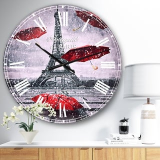 Designart 'Flying Umbrella with Eiffel Tower' Cityscapes Oversized Wall CLock