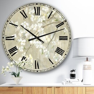 Designart 'Dogwood in Spring Neutral' Farmhouse Large Wall CLock