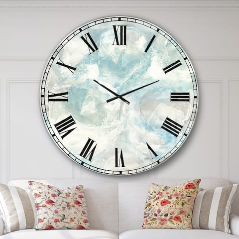 Designart 'Pale Blue Shade III' Modern Farmhouse Large Wall CLock