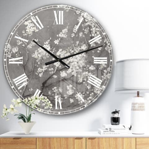 Designart 'White Cherry Blossoms I' Traditional Large Wall CLock