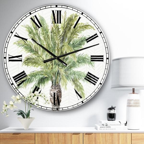 Porch & Den Mixed Botanical Greens palms IV' Farmhouse Oversized Metal Clock