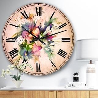 Designart 'Summer Colorful Flowers' Watercolor Large Wall CLock