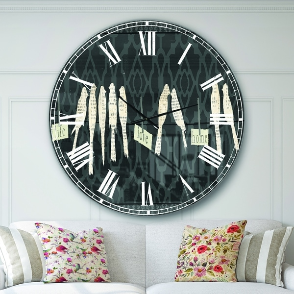 Designart 'French Bird Flea Market II' Farmhouse Large Wall CLock